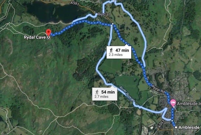 Ambleside to Rydal Cave walk