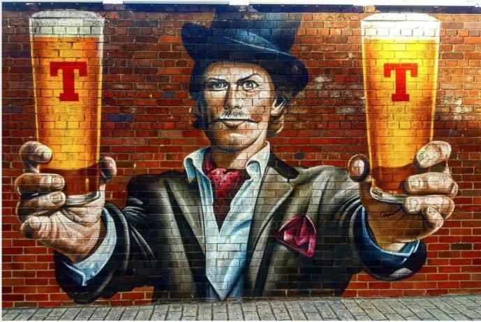 Sam Heughan at Tennents Brewery