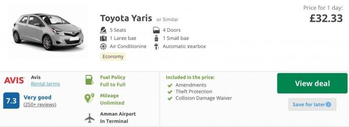 Renting a car in Jordan cost