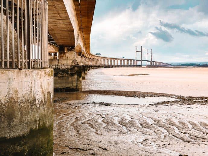 Under the Severn Bridge in Severn Beach