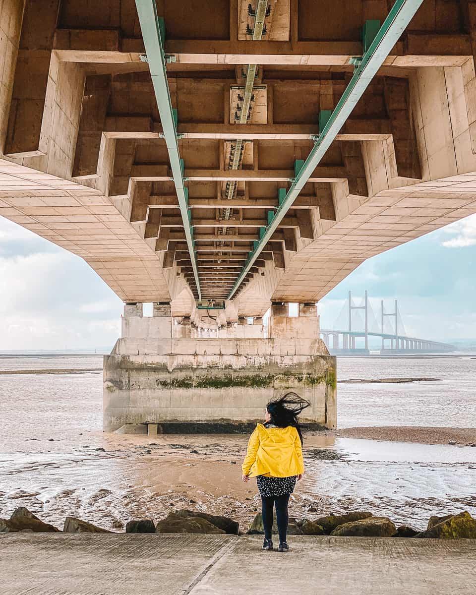 Walking under the Severn Bridge
