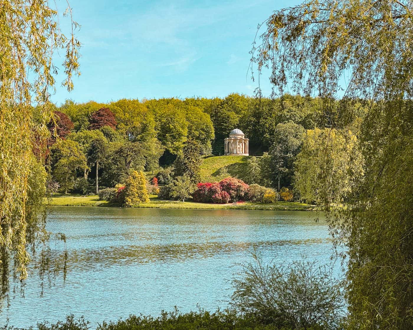Temple of Apollo from the Lakeside walk at Stourhead