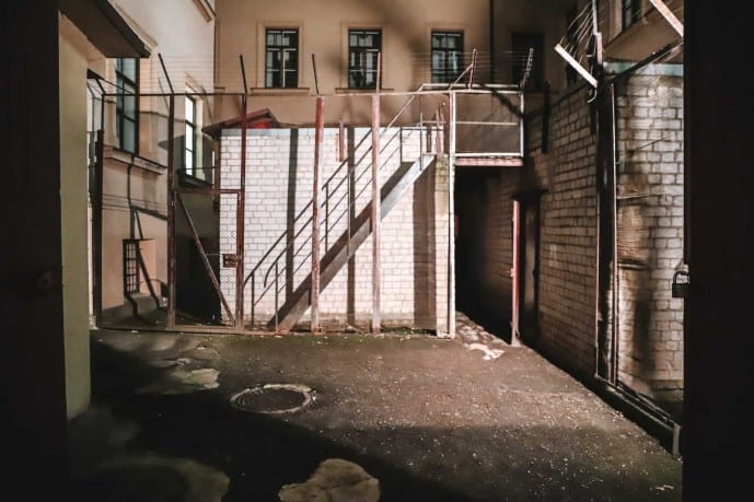 the courtyard at the KGB Prison