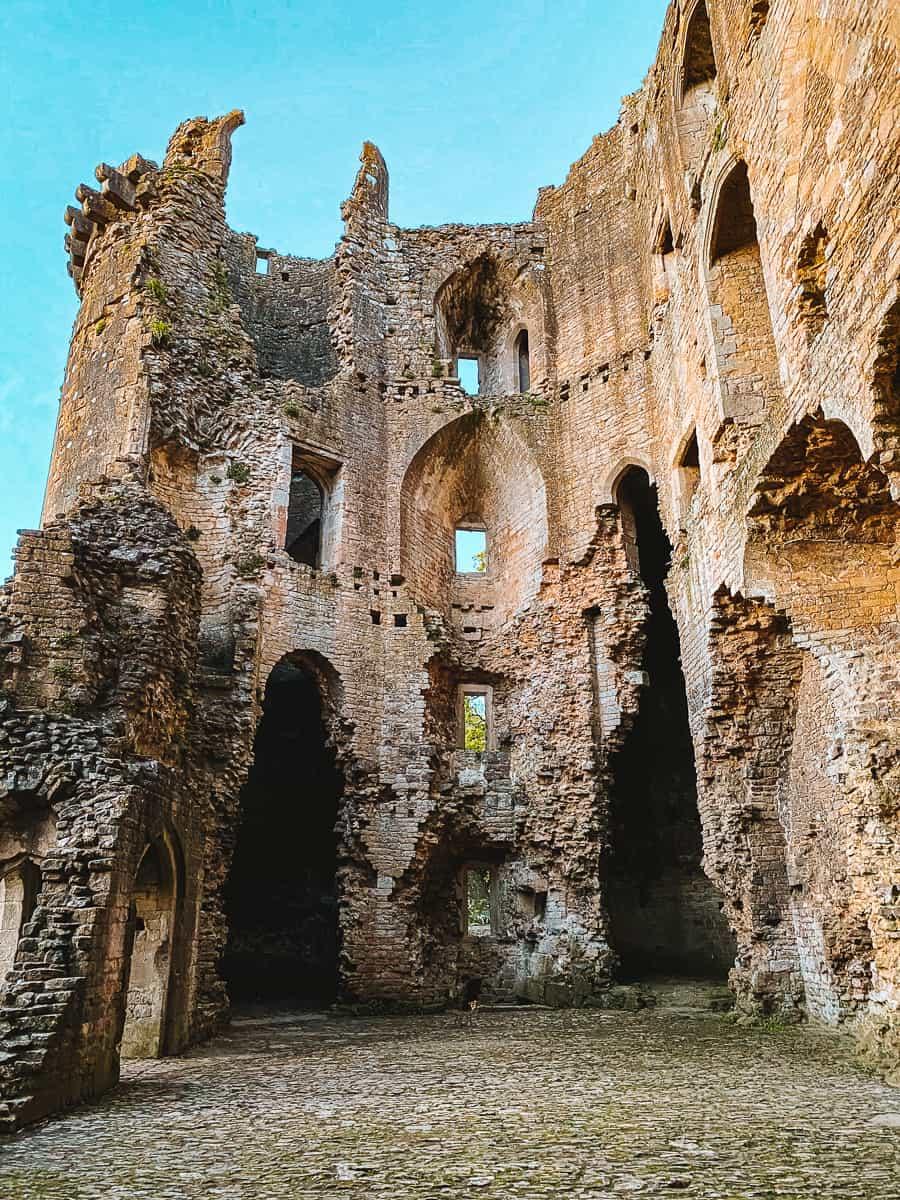 Inside nunney castle ruins
