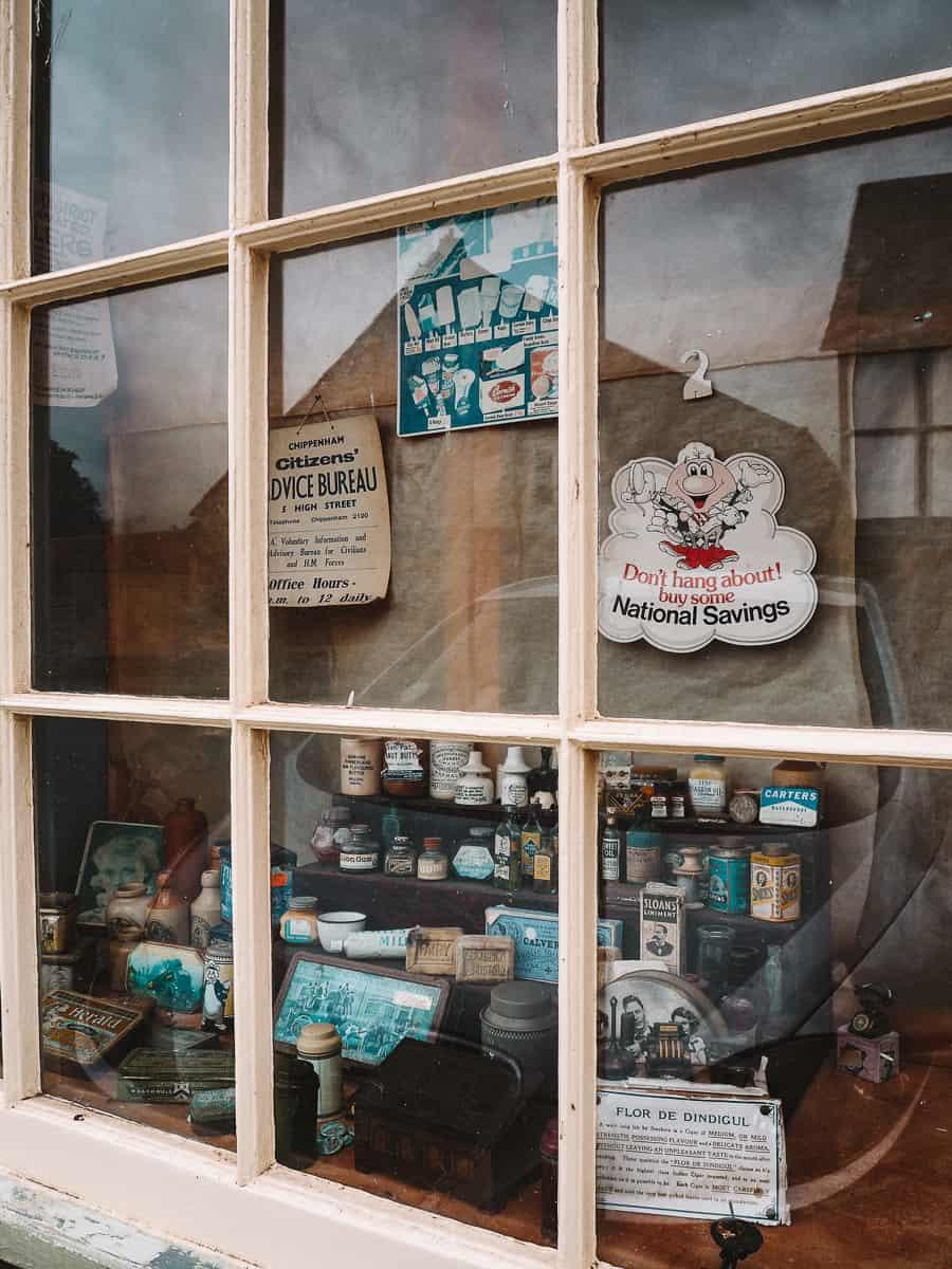 Vintage pharmacy display in Lacock