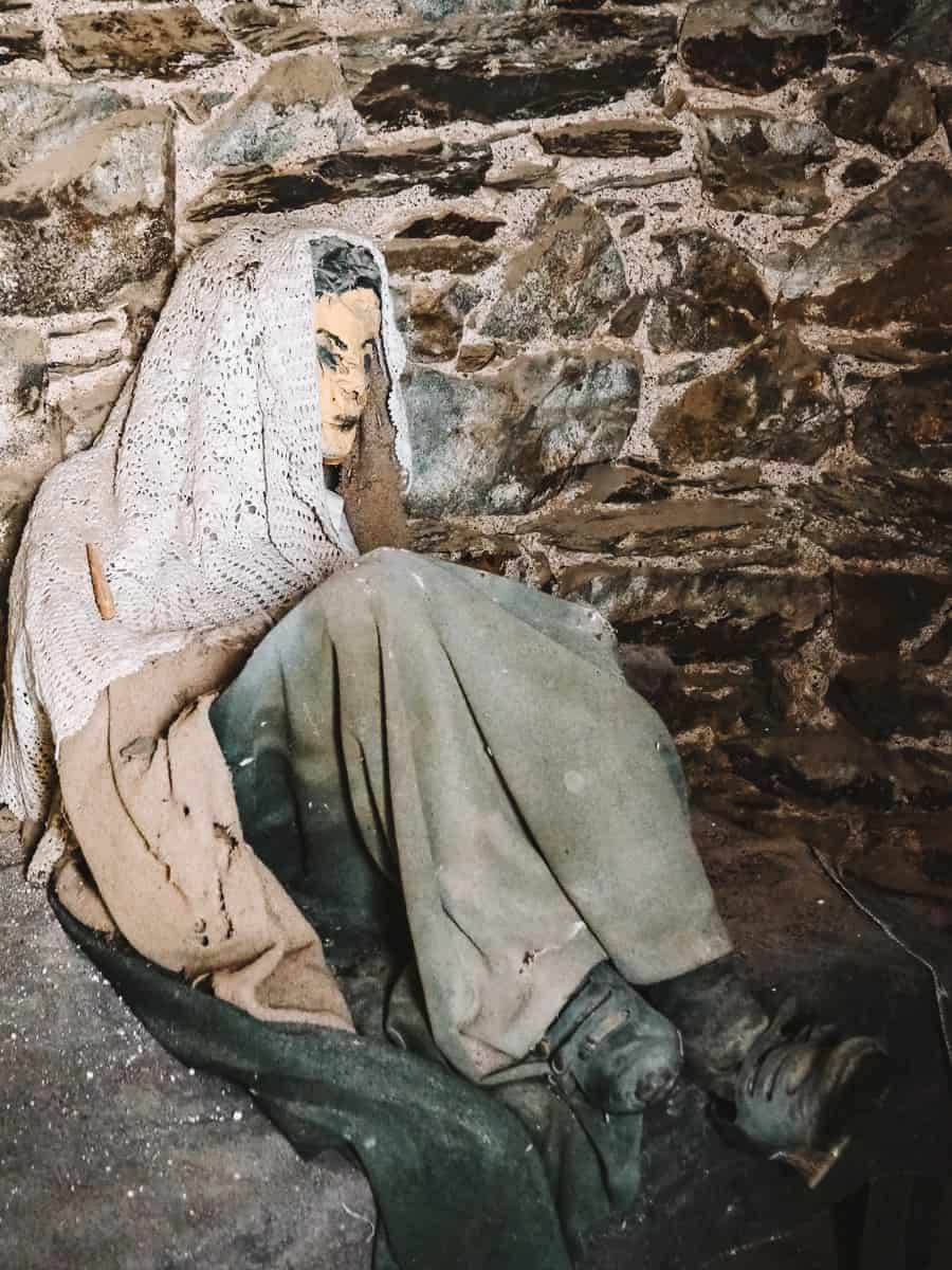 Statue inside Barmouth Roundhouse to represent prison life in 1830s
