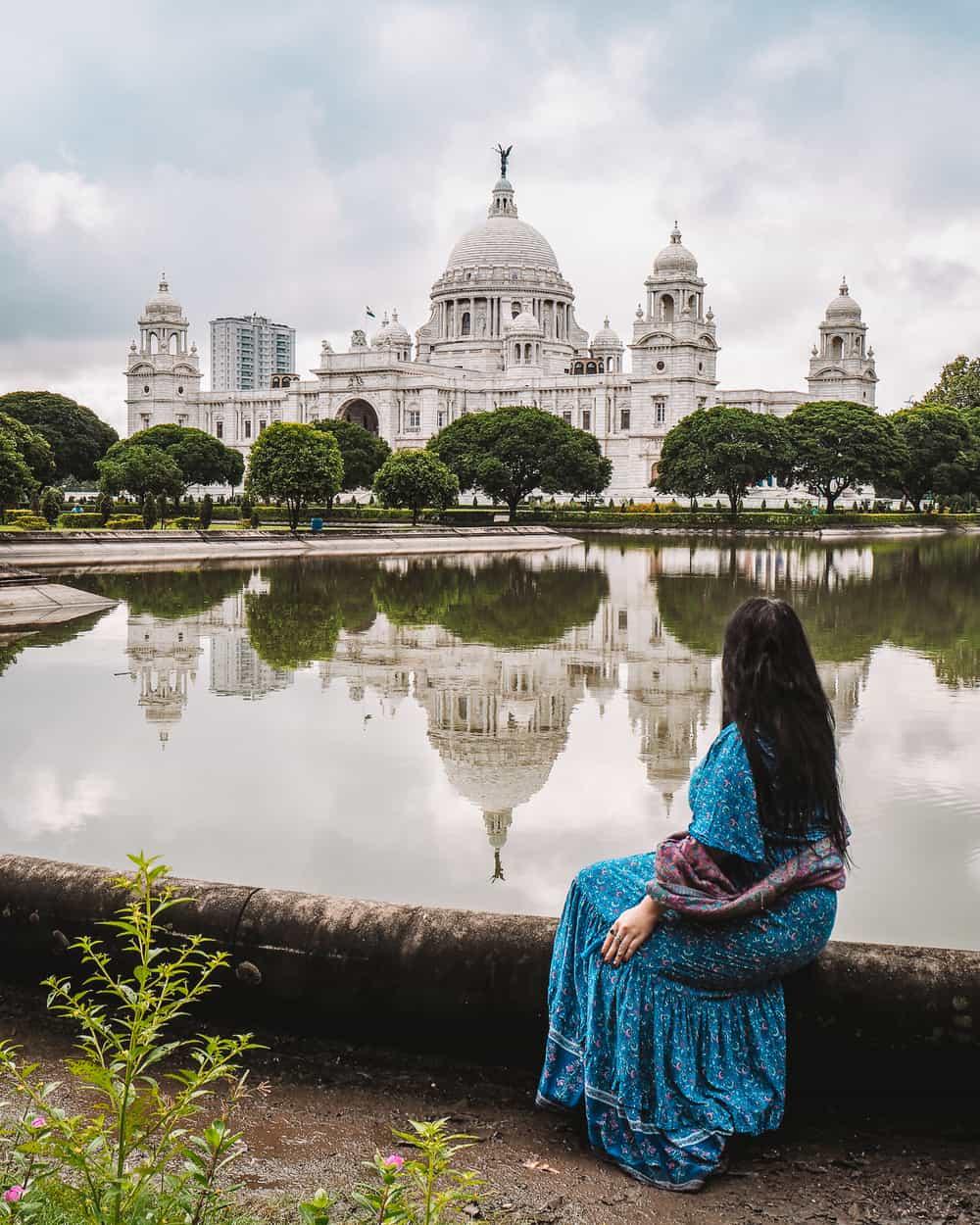 Reflection lagoon Kolkata Victoria Memorial