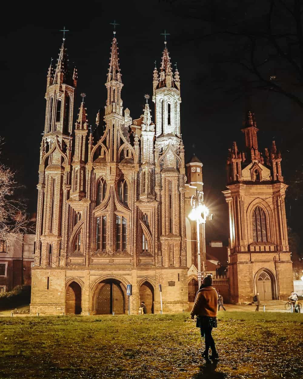 Vilnius Night Photography | Church of St Anne
