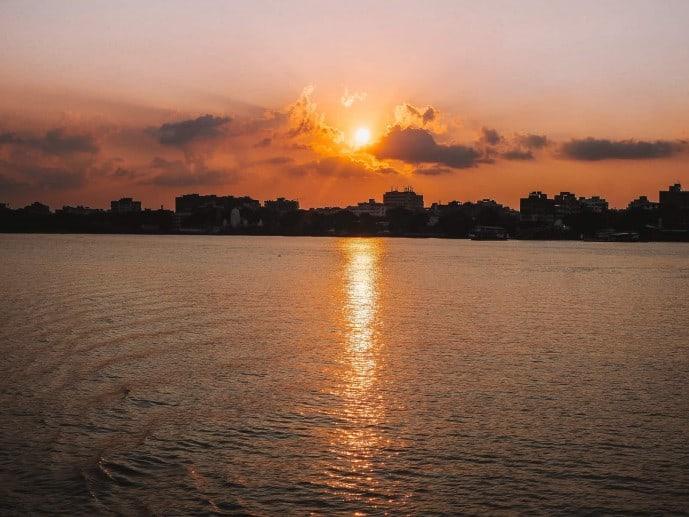 Sunset on the Ganges in Kolkata