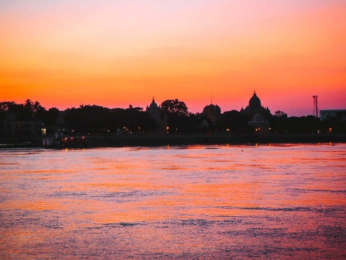 Sunset over the Hooghly River in Kolkata
