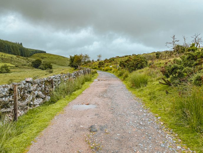 The path from Two Bridges Hotel car park to Wistmans Wood Dartmoor
