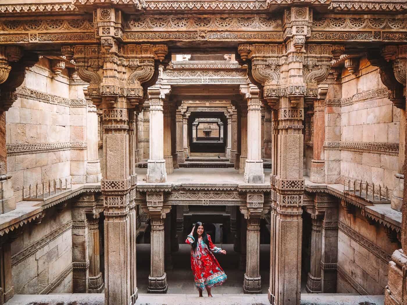 British Girl in a red dress at Adalaj Stepwell Adalaj Ni Vav Gujarat