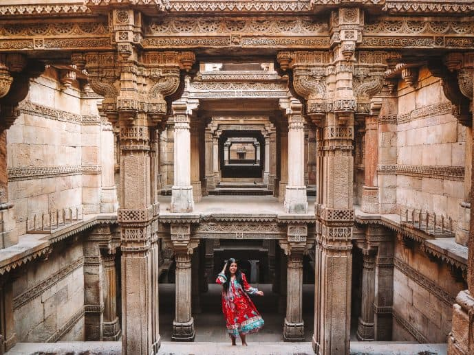 British Girl in a red dress at Adalaj Stepwell Adalaj Ni Vav Gujarat