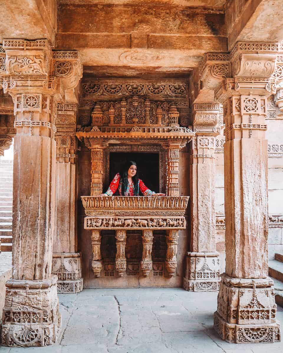 Girl inside Adalaj Stepwell Balcony