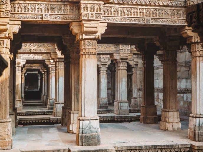The levels and pillars of Adalaj Stepwell