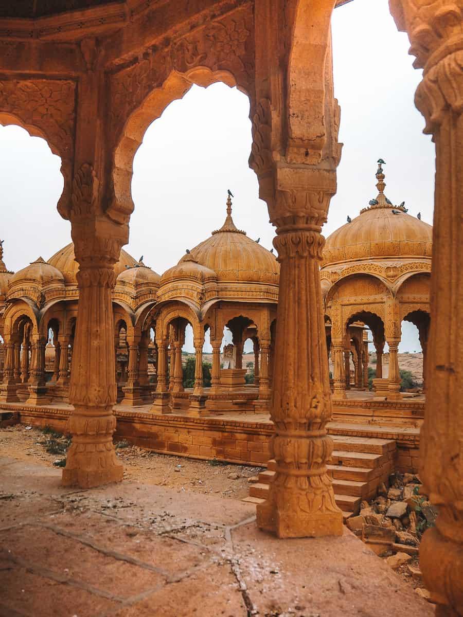 Inside a golden cenotaph at Bada Bagh Jaisalmer Rajasthan