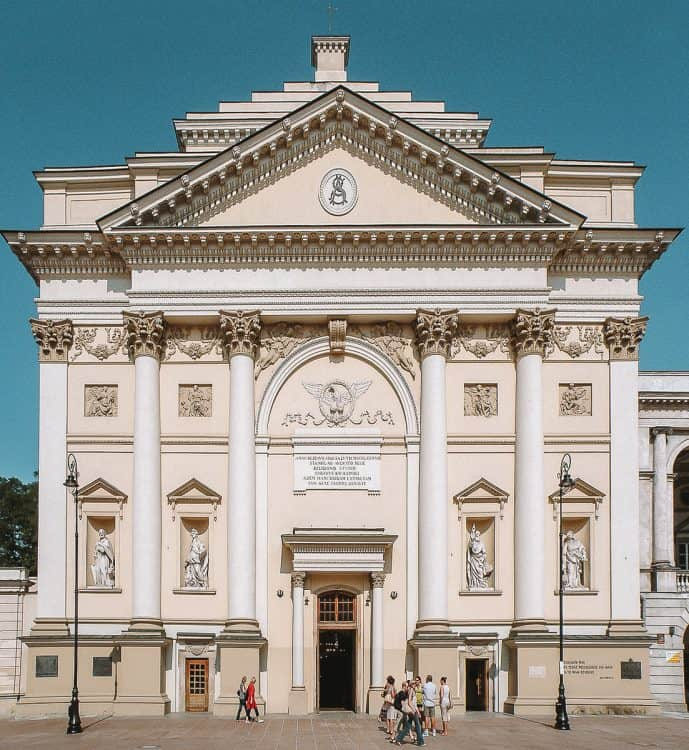 Neo-Classical Facade of St Anne's Church in Warsaw