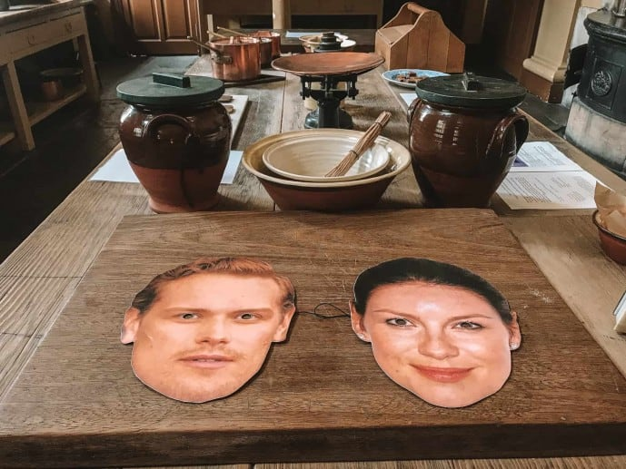 Jamie and Claire masks at Callendar House