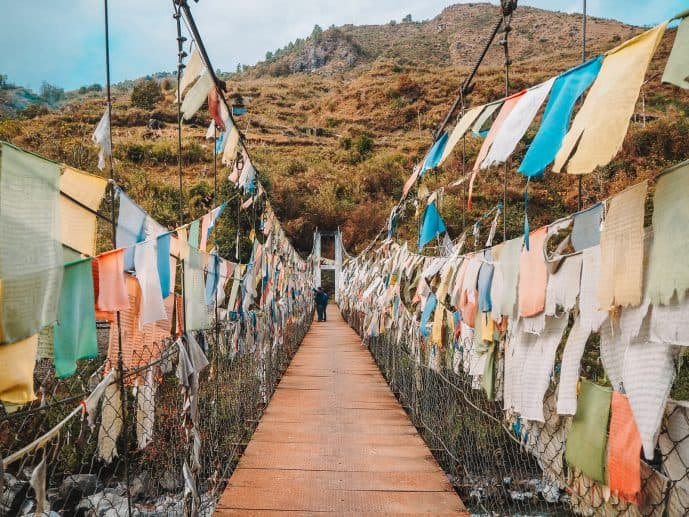 The other, more stable bridge by Chagsam Bridge in Tawang District with Prayer flags