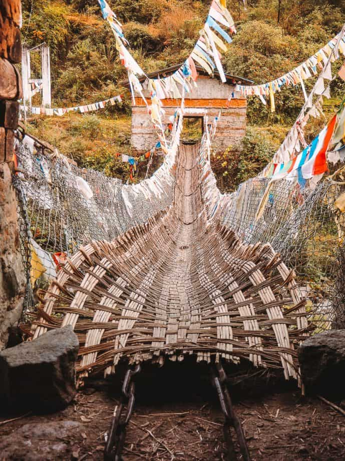 Iron suspension bridge Bhutan bridge Tawang Arunachal Pradesh