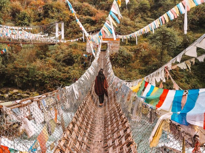 ancient Chakzam bridge tawang district