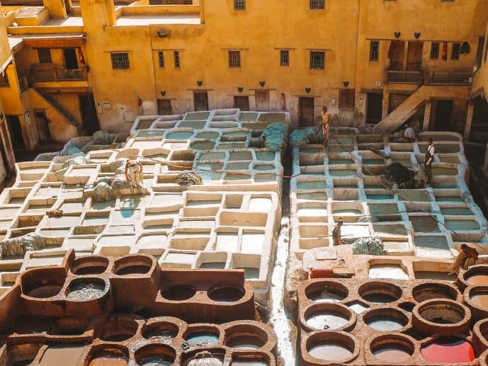 The white vats to make leather at Fez Tannery