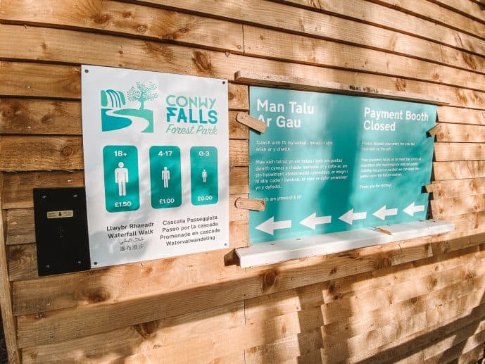 Conwy Falls Forest Park ticket booth entry fees