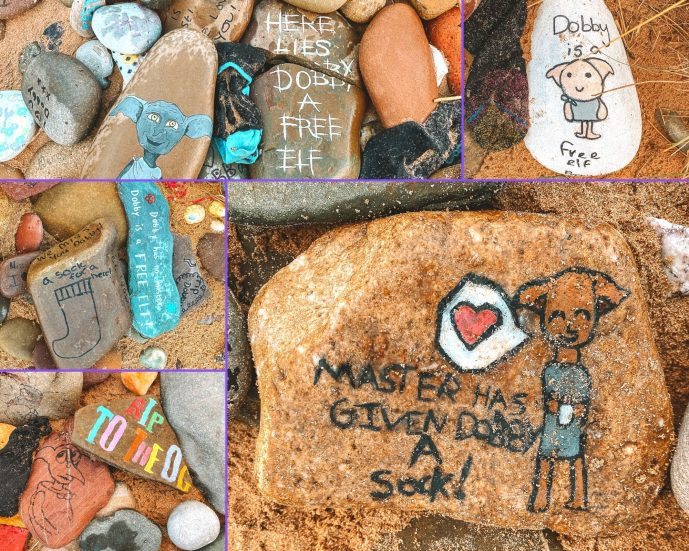 Dobby's Grave Pebbles RIP Dobby