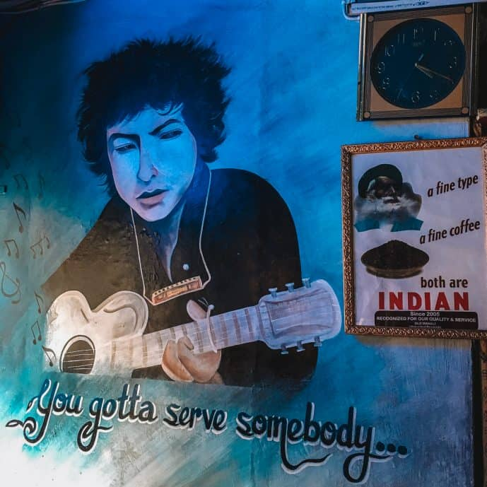 Bob Dylan Mural at Dylans Toasted and Roasted Coffee House