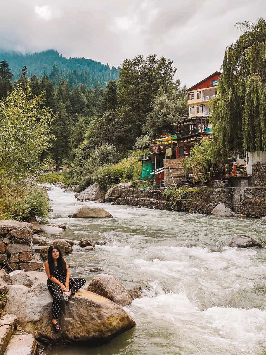 Beas River and Mountains in Old Manali Himachal Pradesh