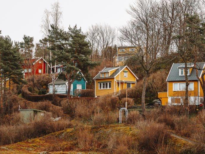 Traditional Norwegian wooden houses in Norway