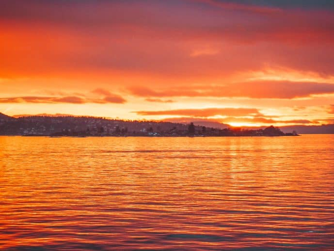 Oslofjord at sunset Norway