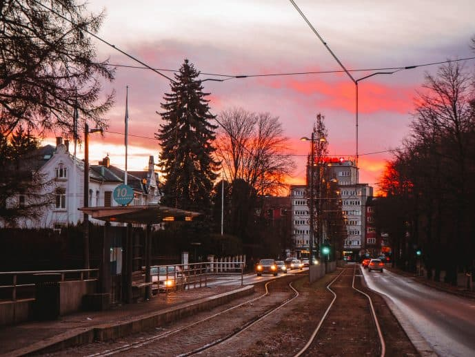 Tram Line in Oslo at Sunset