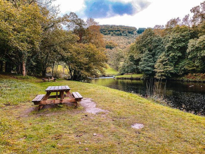 The Fairy Glen Conwy river picnic tables