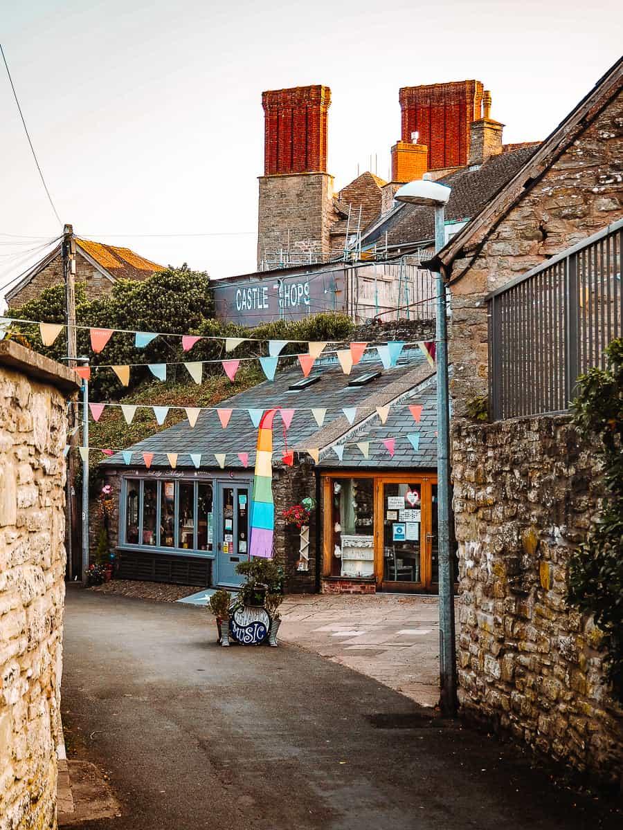 Backfold Castle Shops in Hay-on-Wye Wales