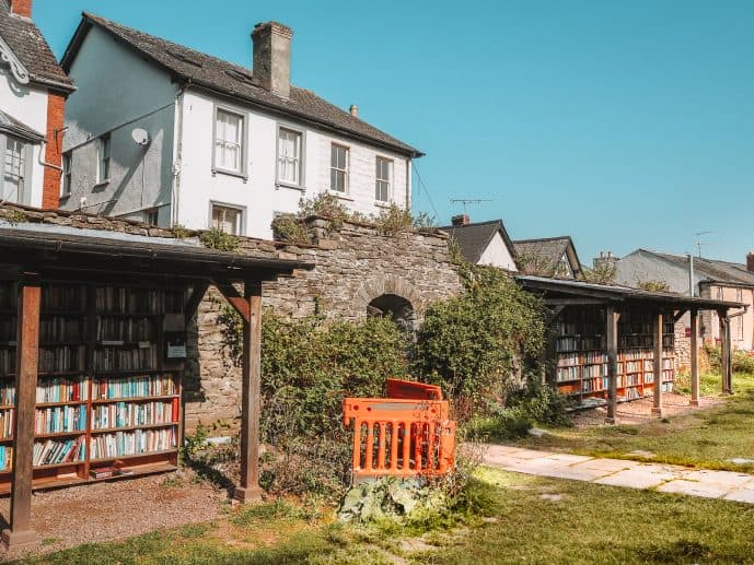 The entrance of the honesty bookshop at Hay Castle Ruins Hay-on-Wye