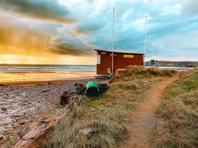 Lifeguard hut at Freshwater West Beach