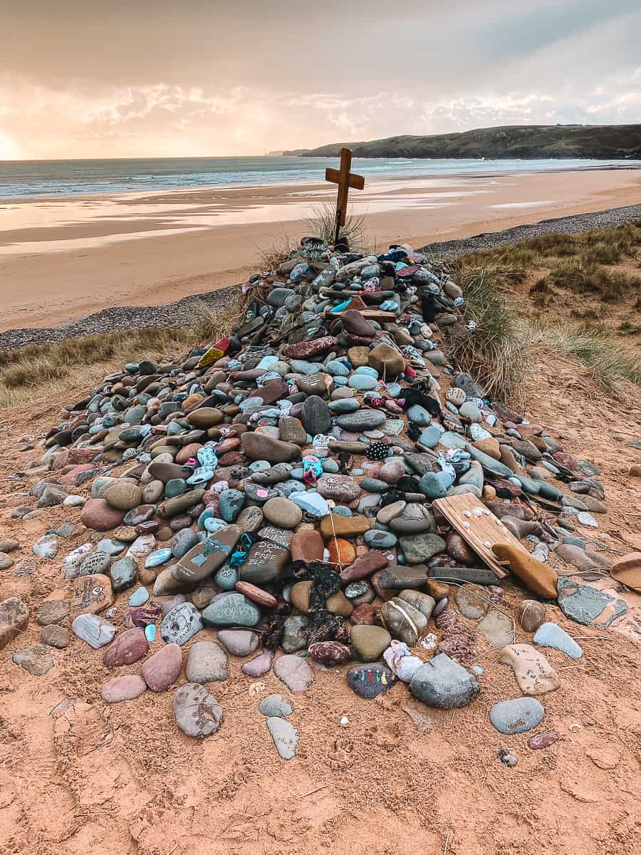 Dobby's Grave location memorial site in Freshwater West Beach Wales
