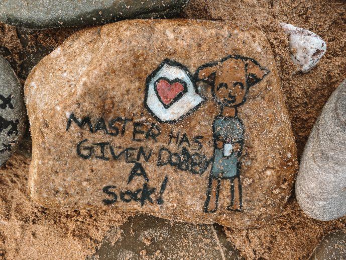 Master has given Dobby a Sock Pebble at Dobby's Grave