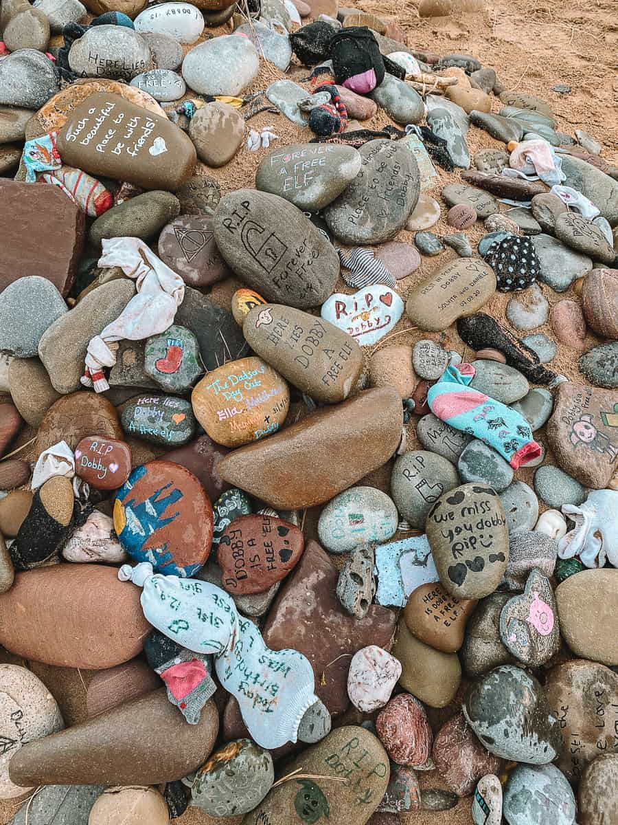 Dobby's Memorial pebbles left at Freshwater West Beach