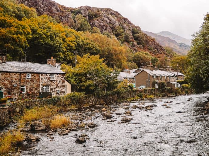 Beddgelert Village on the River Colwyn Snowdonia wales