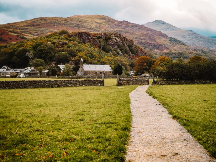 The National Trust path to Gelert's Grave in Beddgelert