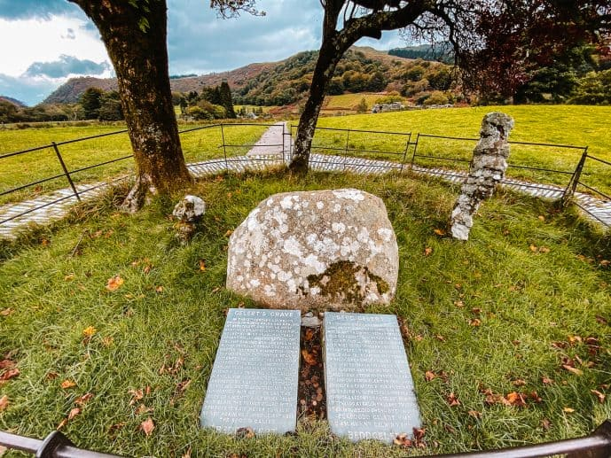 Gelert's Grave stones slate slabs with Gelert the dog story on it