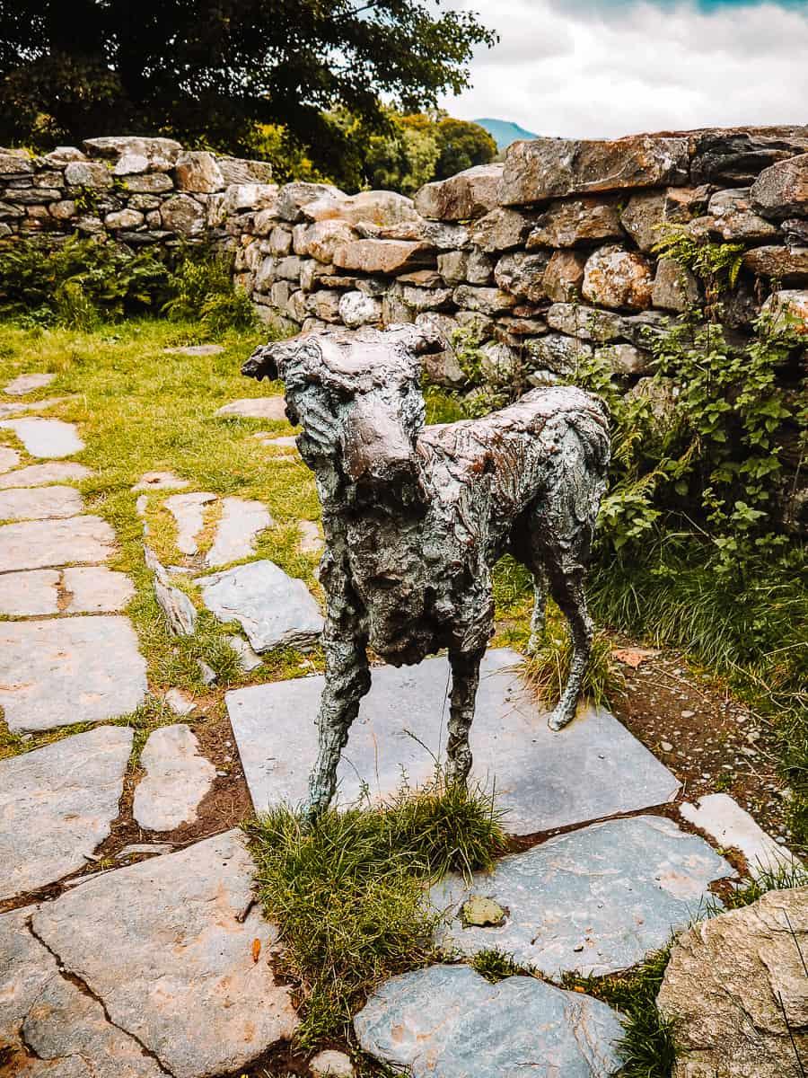 Gelert the Faithful hound statue near Gelert's Grave Beddgelert