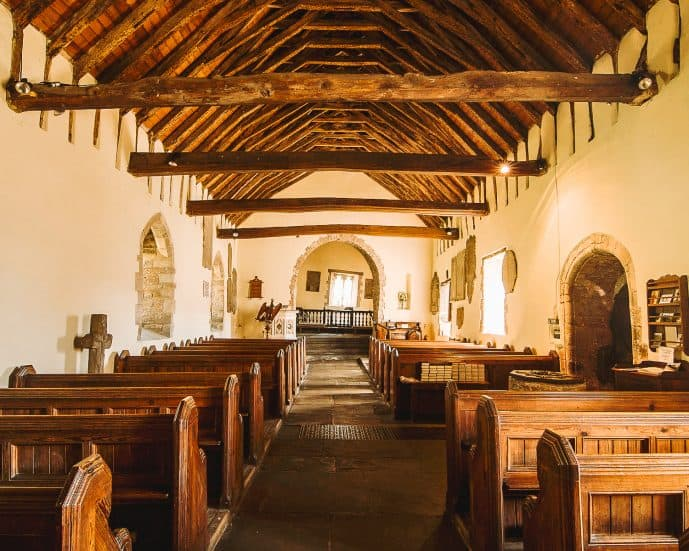 Inside the wonky St Martin's Church Cwmyoy - Crooked Weeping chancel