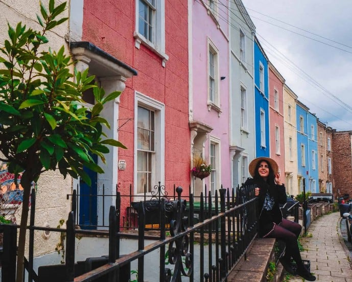 Instagrammable Places in Bristol | The Colourful houses of Cliftonwood Crescent
