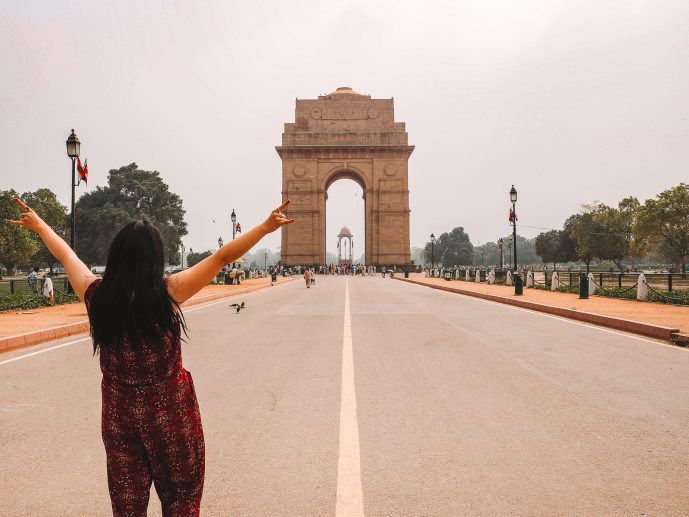 Girl at India Gate - Instagrammable Places in Delhi India