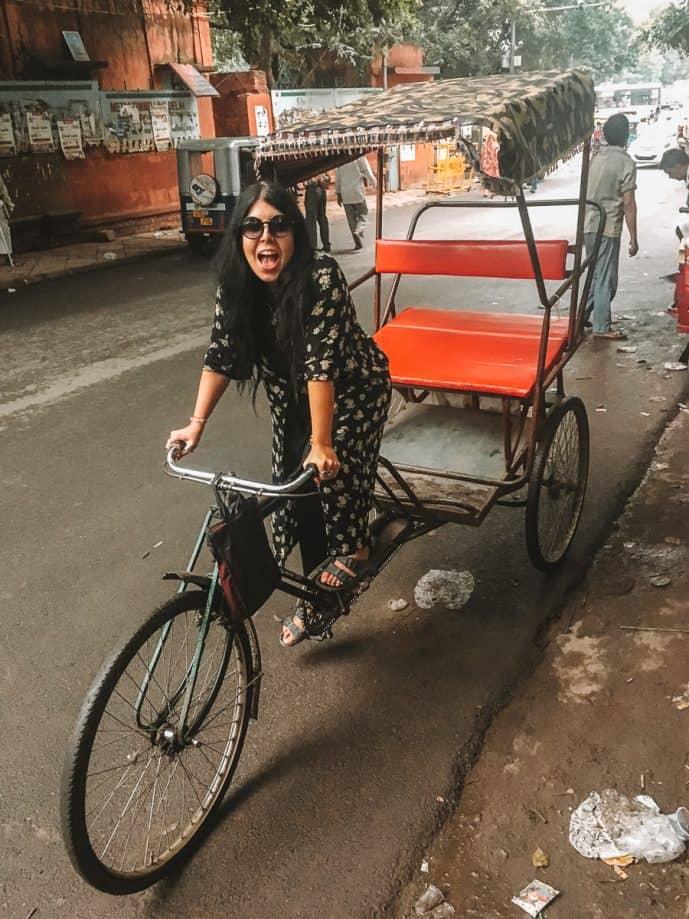 British Girl riding Dehli Rickshaw in Chandni Chowk