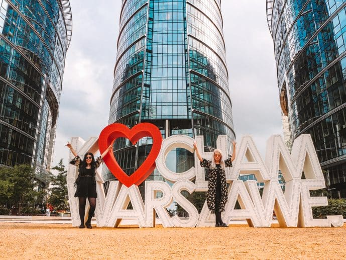 I love Warsaw Sign in Warsaw business district Poland