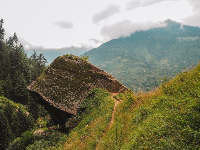 Overhanging Rock in Jogini Waterfall Vashisht